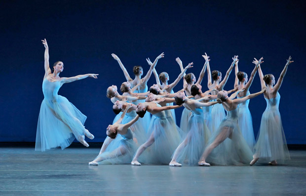Ashley Bouder and NYCB in George Balanchine's <I>Serenade</I>.<br />© Paul Kolnik. (Click image for larger version)