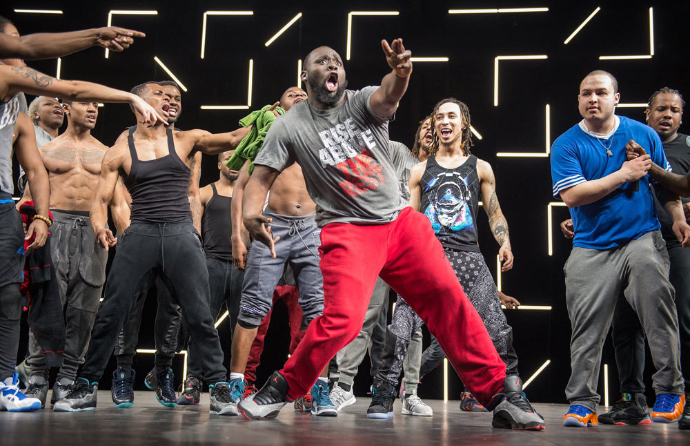 Reggie (Regg Roc) Gray in <I>FLEXN</I> at Park Avenue Armory.<br />© Stephanie Berger. (Click image for larger version)