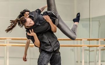 Miguel Altunaga and Itziar Mendizabal in rehearsal of Altunaga's And it's you.© Stephen Wright. (Click image for larger version)
