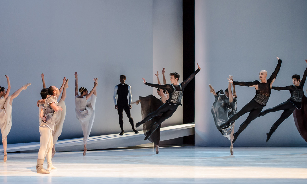 George Oliveira, Alexis Oliveira, Alvaro Prieto and the company in <I>Romeo and Juliet</I>.<br />© Stephen Wright. (Click image for larger version)