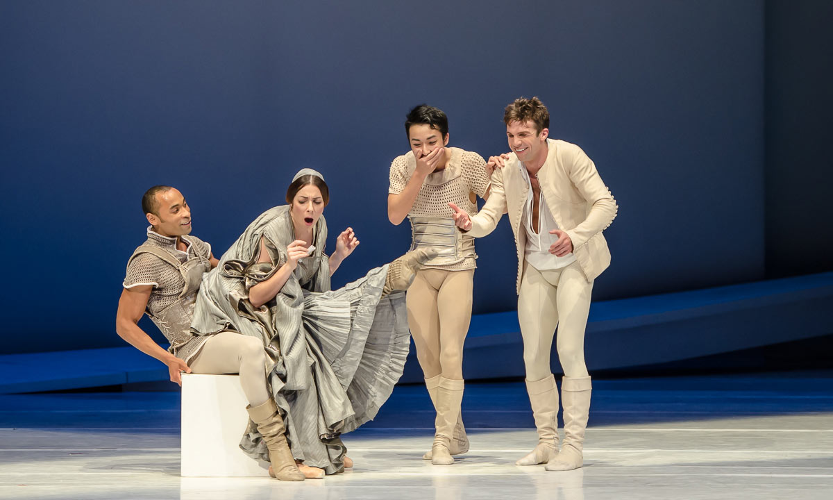 Maude Sabourin, George Oliveira, Mikio Kato and Lucien Postlewaite in <I>Romeo and Juliet</I>.<br />© Stephen Wright. (Click image for larger version)