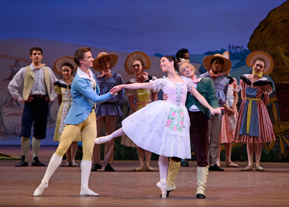 Vadim Muntagirov, Laura Morera and Paul Kay in La Fille mal gardée.© ROH, Tristram Kenton (Click image for larger version)