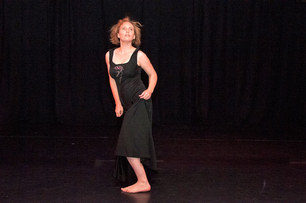 Vivienne Rogis in <I>All my trials</I>, Mirramu Dance Company, 2015. From the Australian Dance Theatre repertoire of 1966.<br />© Barbie Robinson. (Click image for larger version)