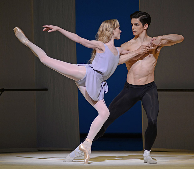 Federico Bonelli and Sarah Lamb in Jerome Robbins' <I>Afternoon of a Faun</I>.<br />© Dave Morgan, courtesy the Royal Opera House. (Click image for larger version)