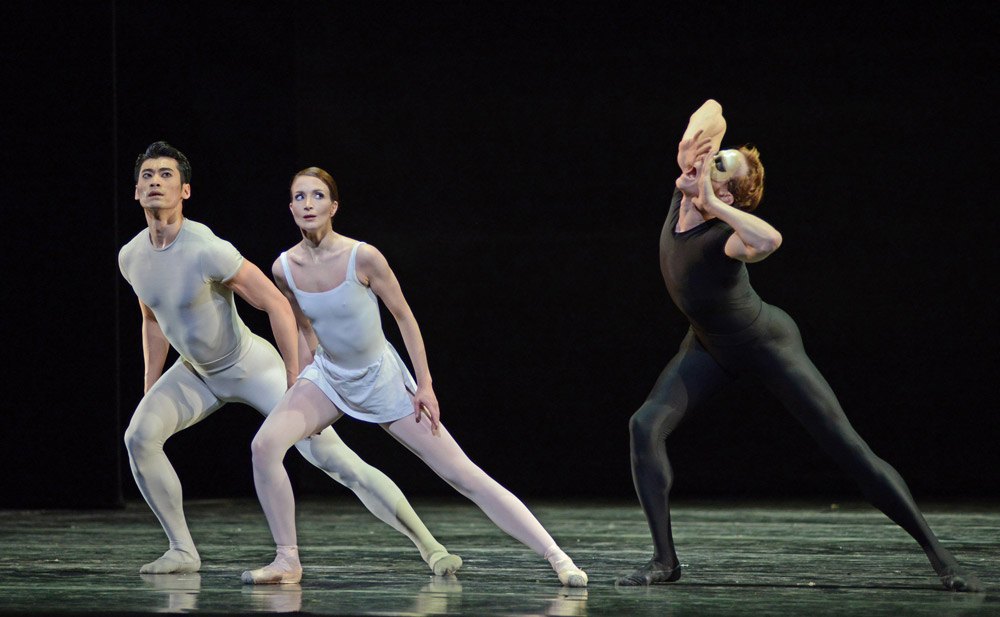 Lauren Cuthbertson, Edward Watson and Ryoichi Hirano in Kenneth MacMillan's Song of the Earth.© Dave Morgan, courtesy the Royal Opera House. (Click image for larger version)