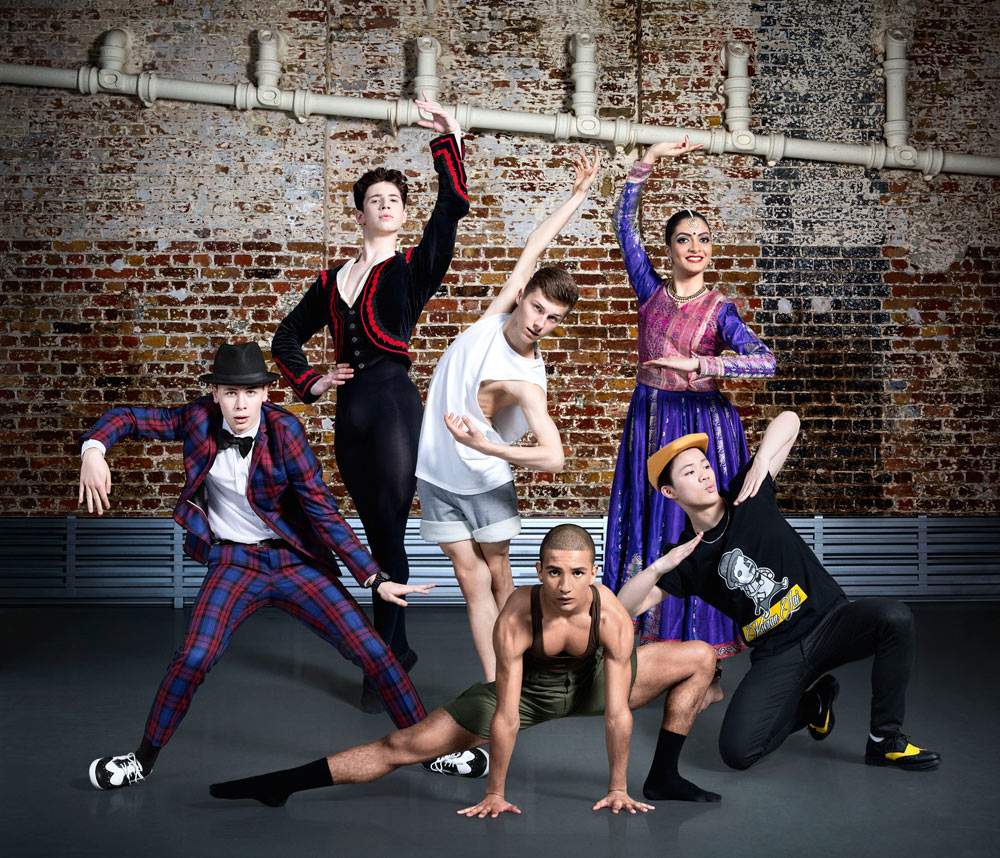 BBC Young Dancer 2015 Finalists: Harry Barnes, Archie Sullivan, Connor Scott, Jacob O'Connell, Vidya Patel, Kieran Lai.© BBC/Ellis Parrinder. (Click image for larger version)