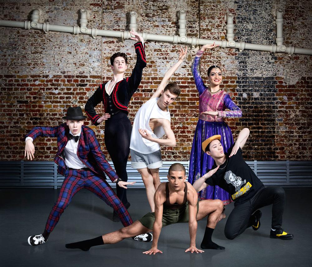 BBC Young Dancer 2015 Finalists: Harry Barnes, Archie Sullivan, Connor Scott, Jacob O'Connell, Vidya Patel, Kieran Lai.© BBC/Ellis Parrinder. (Click image for larger version)