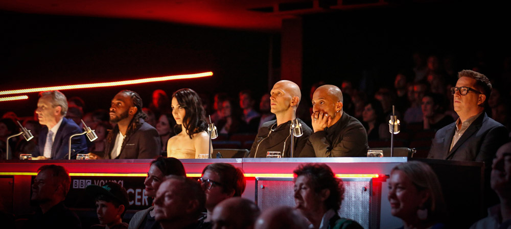The 2015 Jury: Alistair Spalding, Kenrick Sandy, Tamara Rojo, Wayne McGregor, Mavin Khoo and Matthew Bourne.© BBC/Guy Levy. (Click image for larger version)