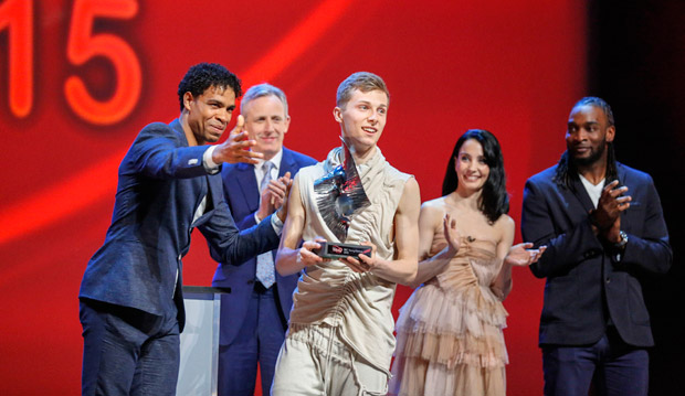Connor Scott - being presented with his award by Carlos Acosta.<br />© BBC/Guy Levy. (Click image for larger version)