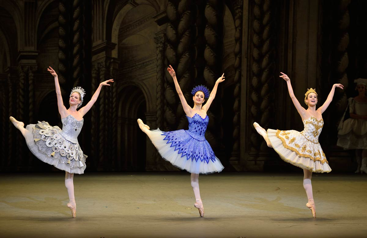 Lauren Post, Melanie Hamrick and Stephanie Williams as Silver, Sapphire and Gold fairies in Alexei Ratmansky's <I>The Sleeping Beauty</I>.<br />© Gene Schiavone. (Click image for larger version)