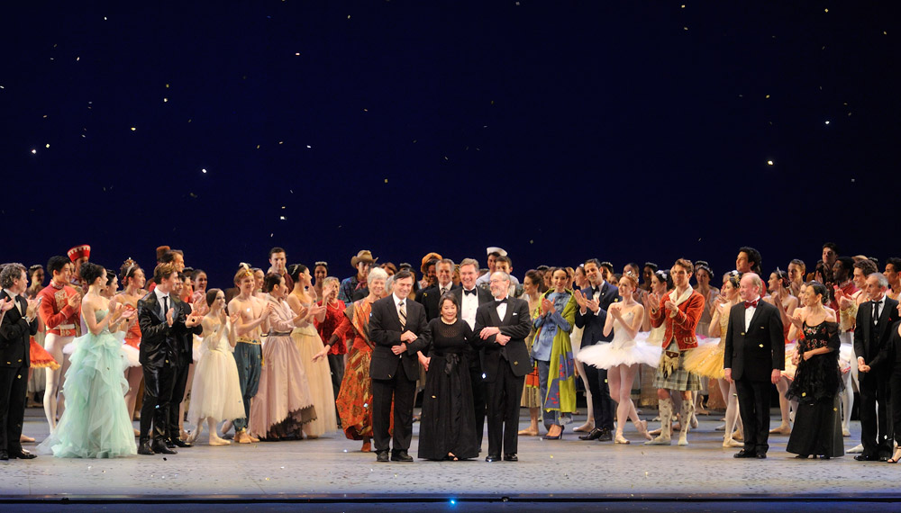 Paul Sutherland, Ruth Ann Koesun and Edward Verso at the curtain call.<br />© Gene Schiavone. (Click image for larger version)