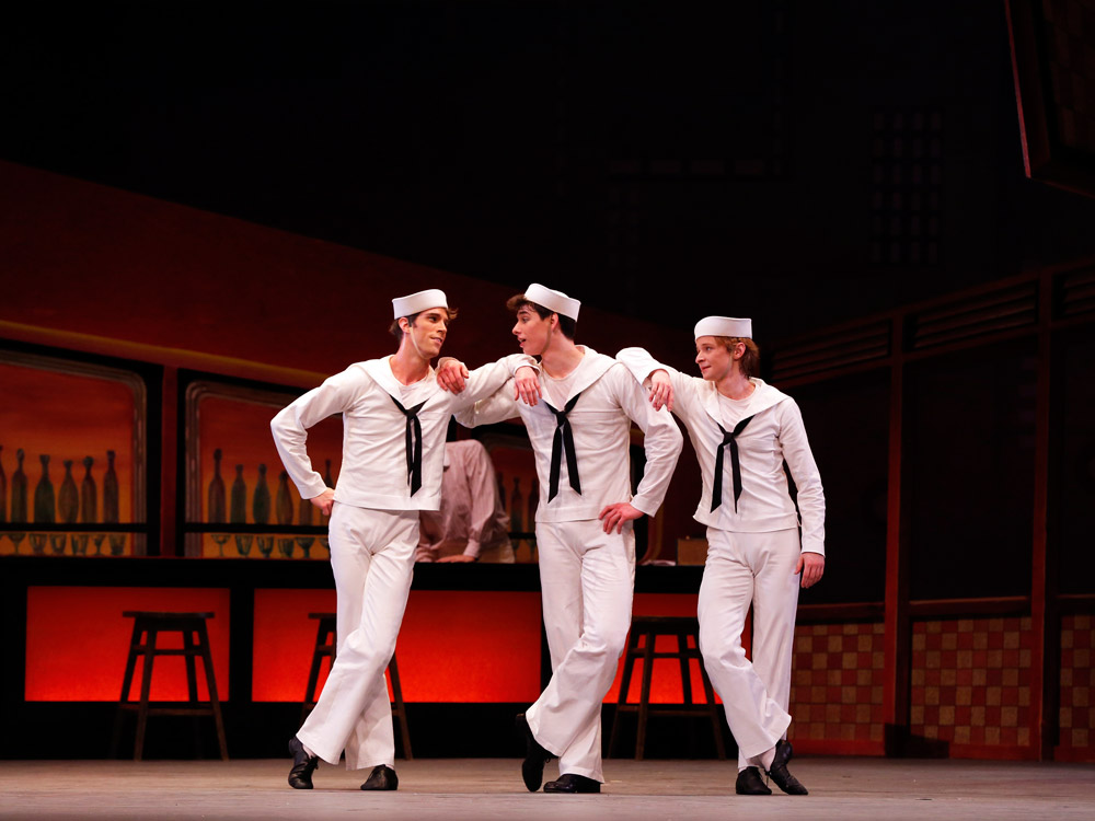James Whiteside, Sterling Baca and Daniil Simkin in Fancy Free.© Marty Sohl. (Click image for larger version)