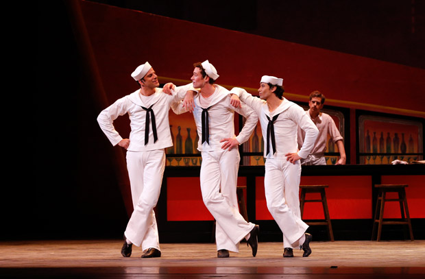 Marcelo Gomes, Cory Stearns and Herman Cornejo in <I>Fancy Free</I>.<br />© Marty Sohl. (Click image for larger version)