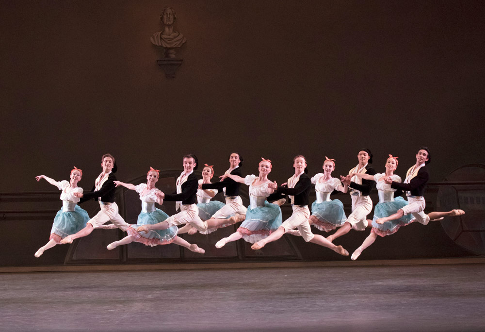 New Yorck City Ballet in <I>Bournonville Divertissements</I>.<br />© Paul Kolnik. (Click image for larger version)