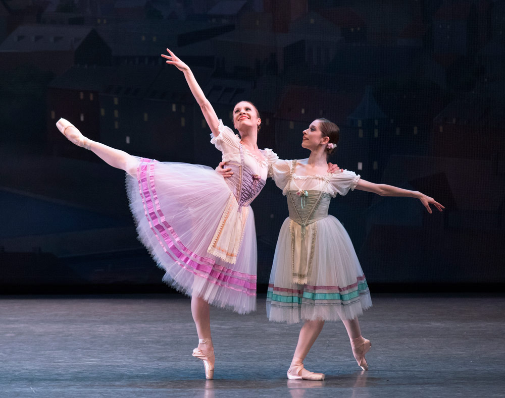 Lauren King and Rebecca Krohn in <I>Bournonville Divertissements</I>.<br />© Paul Kolnik. (Click image for larger version)