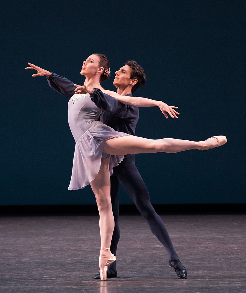 Tiler Peck and Joaquin de Luz in Balanchine's <I>Sonatine</I>.<br />© Paul Kolnik. (Click image for larger version)