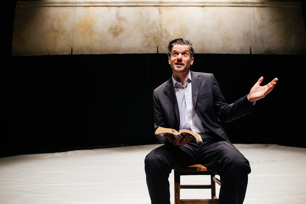 Ben Duke in Paradise Lost (lies unopened beside me).© Zoe Manders. (Click image for larger version)