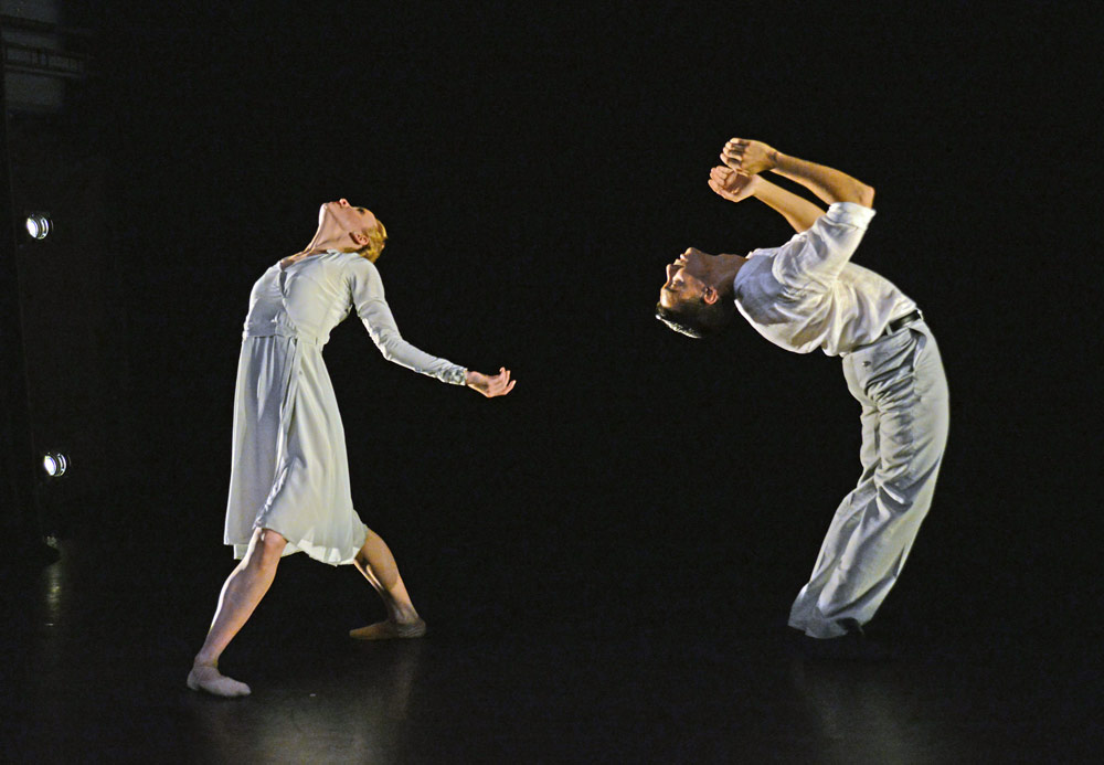 Tiffany Hedman and Daniel Kraus in Morgann Runacre-Temple's <I>Give My Love to The Sunrise</I>.<br />© Dave Morgan. (Click image for larger version)