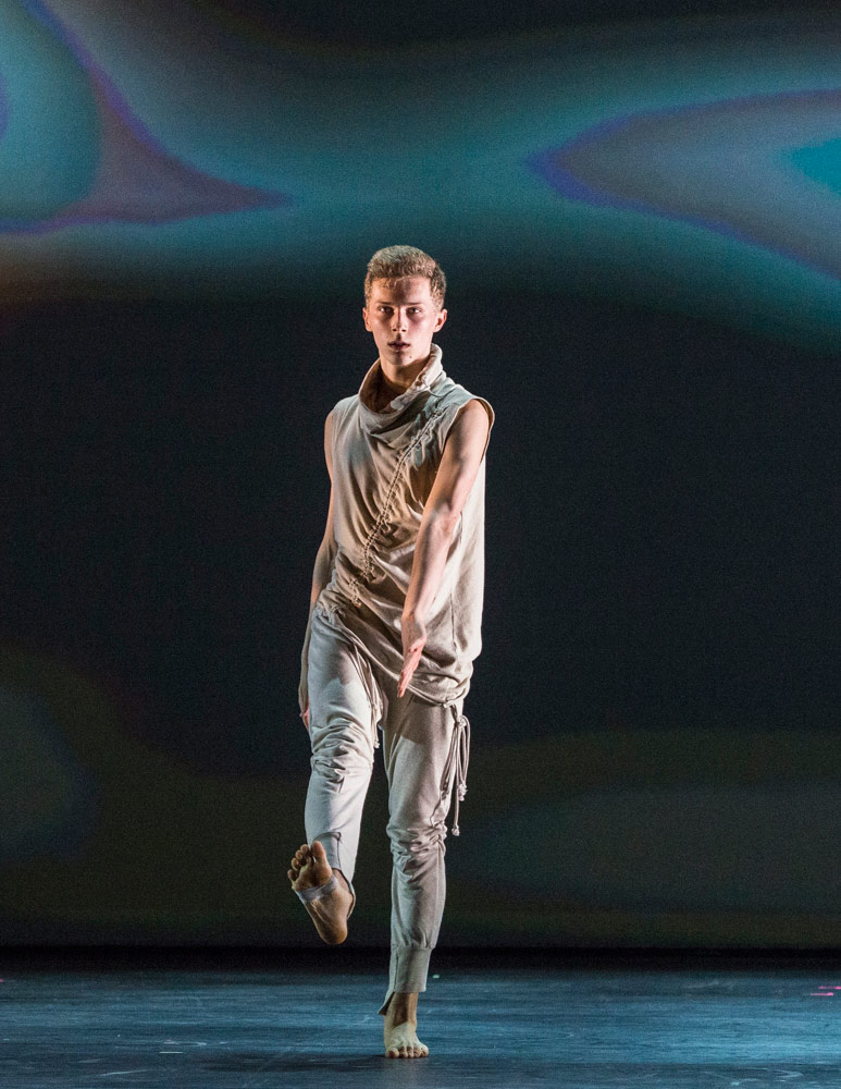 Connor Scott, winner of the BBC Young Dancer Award, in his Solo 2 – Ride by Patricia Okenwa.© Foteini Christofilopoulou. (Click image for larger version)