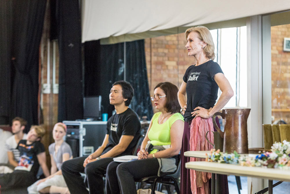 Li Cunxin, with ballet mistresses Mary Li and Janette Mulligan, rehearsing <I>La Sylphide</I>.<br />© Christian Tiger. (Click image for larger version)