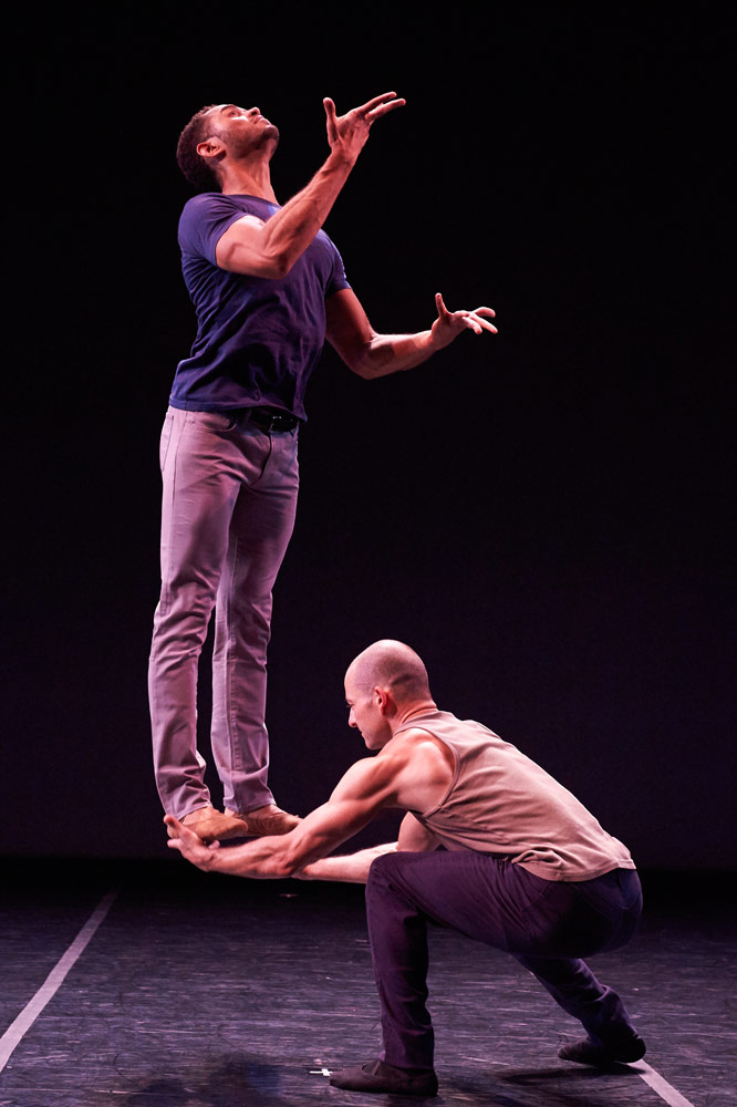 James Gilmer and Brandon Freeman in KT Nelson's Starting Over at the End.© David DeSilva. (Click image for larger version)