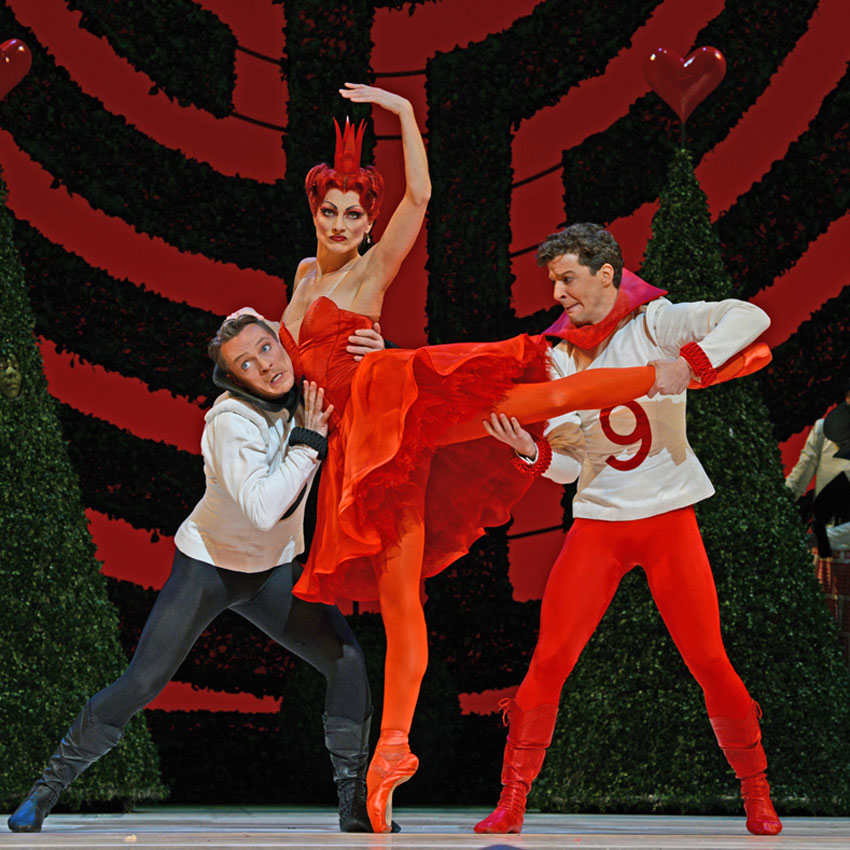 Zenaida Yanowsky with Thomas Whitehead and Johannes Stepanek in Christopher Wheeldon's Alice's Adventures in Wonderland.© Dave Morgan, courtesy the Royal Opera House. (Click image for larger version)