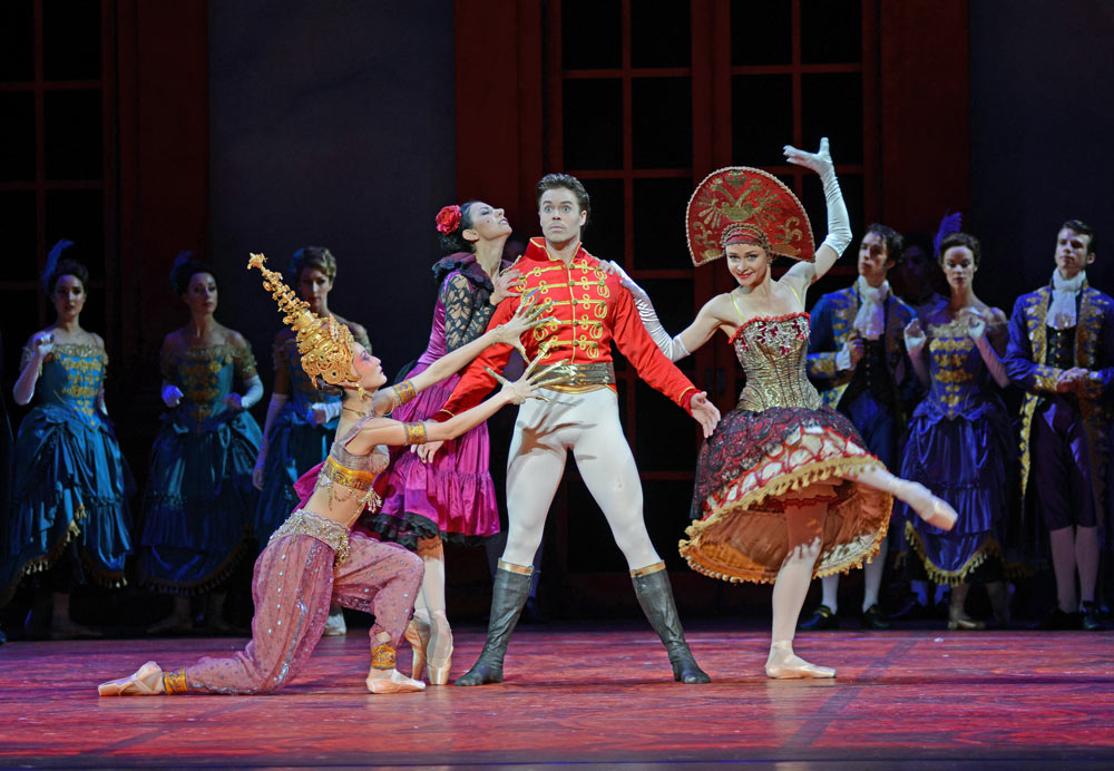 Maiko Tutsumi, Victoria Ananyan, Matthew Golding and Maria Chigai in Christopher Wheeldon's <I>Cinderella</I>.<br />© Dave Morgan. (Click image for larger version