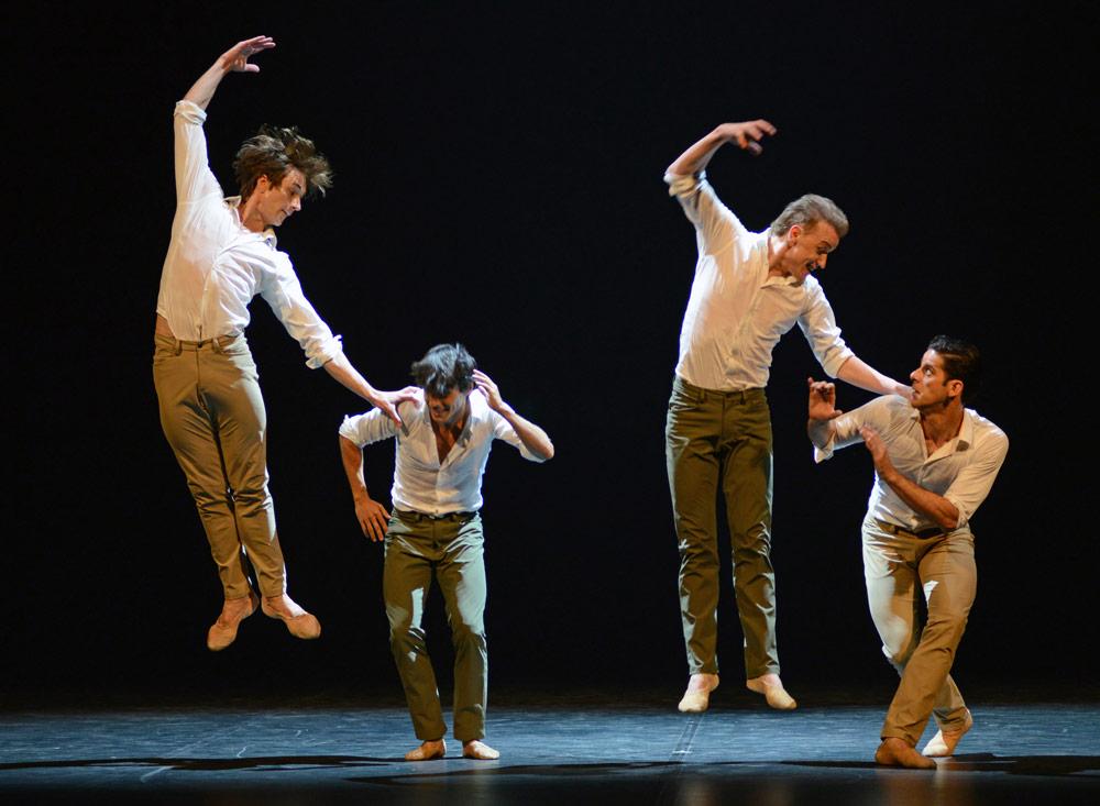 Joaquin De Luz, Friedemann Vogel, Denis Matvienko and Marcelo Gomes in <I>Tristesse</I>.<br />© Dave Morgan. (Click image for larger version)