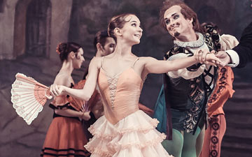 Viktor Ishchuk, Kateryna Khaniukova and Sergei Litvinenko in Don Quixote.© Ksenia Orlova. (Click image for larger version)