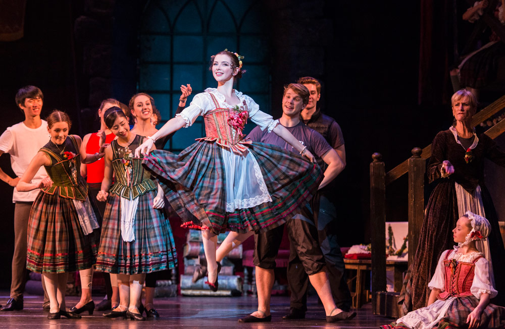 Sarah Thompson & members of Queensland Ballet in <I>La Sylphide</I> (sadly not in full costume).<br />© Foteini Christofilopoulou. (Click image for larger version)