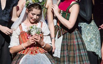 Sarah Thompson & members of Queensland Ballet in La Sylphide (sadly not in full costume).© Foteini Christofilopoulou. (Click image for larger version)