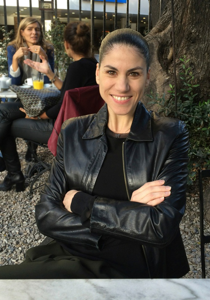 Paloma Herrera at the café next to the Museo de Arte Decorativa.© Marina Harss. (Click image for larger version)