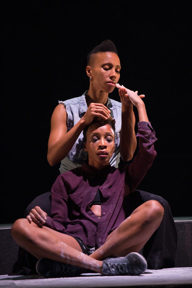 Mora-Amina Parker and Yusha-Marie Sorzano in <I>Black Girl: Linguistic Play</I>.<br />© Christopher Duggan. (Click image for larger version)