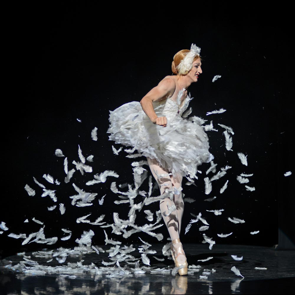 Joshua Thake, as Eugenia Repelskii, in <I>The Dying Swan</I>.<br />© Dave Morgan. (Click image for larger version)