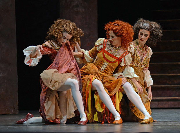 Olivia Cowley, Itziar Mendizabal and Helen Crawford as Harlots in Romeo and Juliet.© Dave Morgan, courtesy the Royal Opera House. (Click image for larger version)