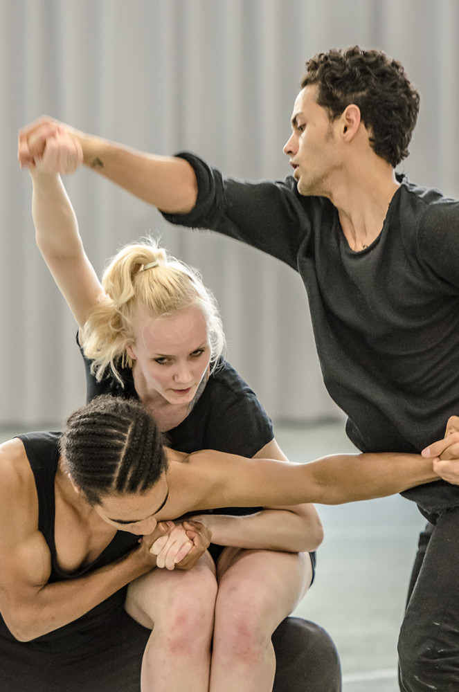 Liam Francis, Simone Damburg Würtz and Dane Hurst in the studio rehearsing Didy Veldman's The 3 Dancers.© Stephen Wright. (Click image for larger version)
