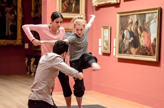 Brenda Lee Grech, Dane Hurst and Seren Williams working on <I>Prud'Hon: The Moving Body</I> at Dulwich Picture Gallery.<br />© Stephen Wright. (Click image for larger version)