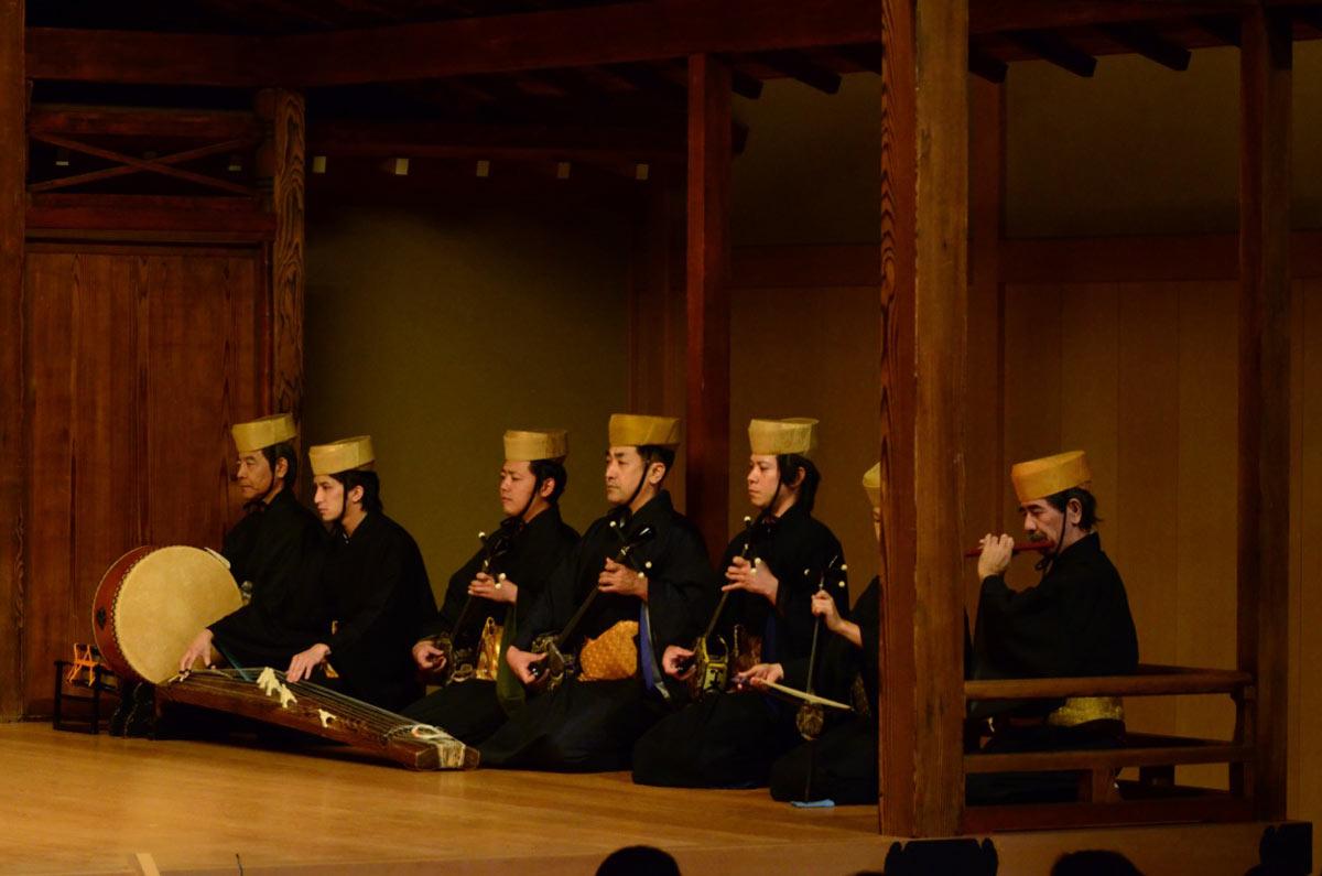 'Traditional Dance from Okinawa' musicians; courtesy of Yokohama Noh Theater.© Yoshiaki Kanda. (Click image for larger version)