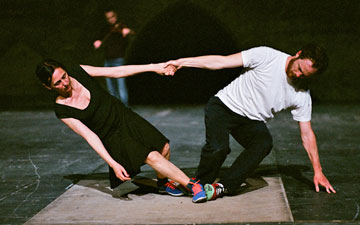 Anne Teresa De Keersmaeker and Boris Charmatz in Partita 2.© Anne Van Aerschot. (Click image for larger version)