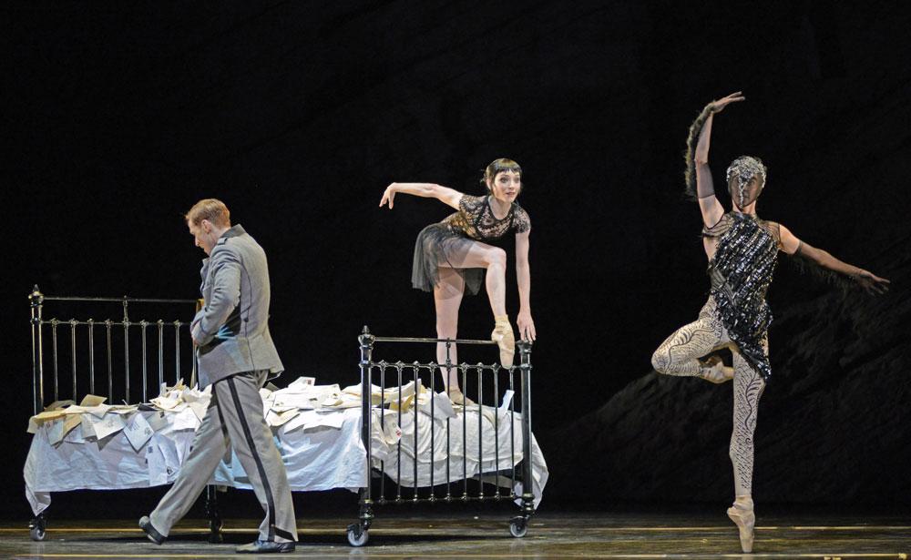Edward Watson, Sarah Lamb and Olivia Cowley in Raven Girl.© Dave Morgan, courtesy the Royal Opera House. (Click image for larger version)