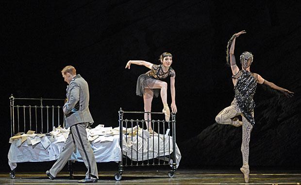 Edward Watson, Sarah Lamb and Olivia Cowley in <I>Raven Girl</I>.<br />© Dave Morgan, courtesy the Royal Opera House. (Click image for larger version)