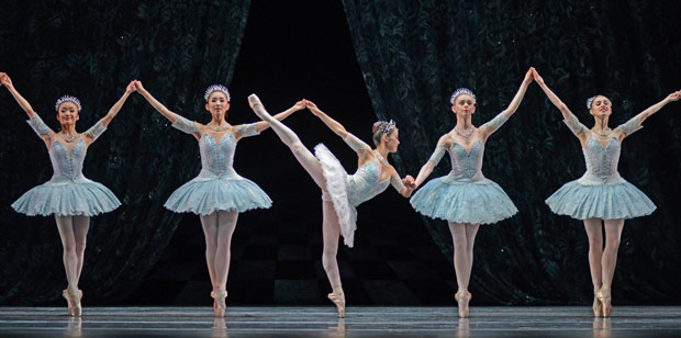 Nao Sakuma and the comapny in Balanchine's <I>Theme and Variations</I>.<br />© Dave Morgan. (Click image for larger version)