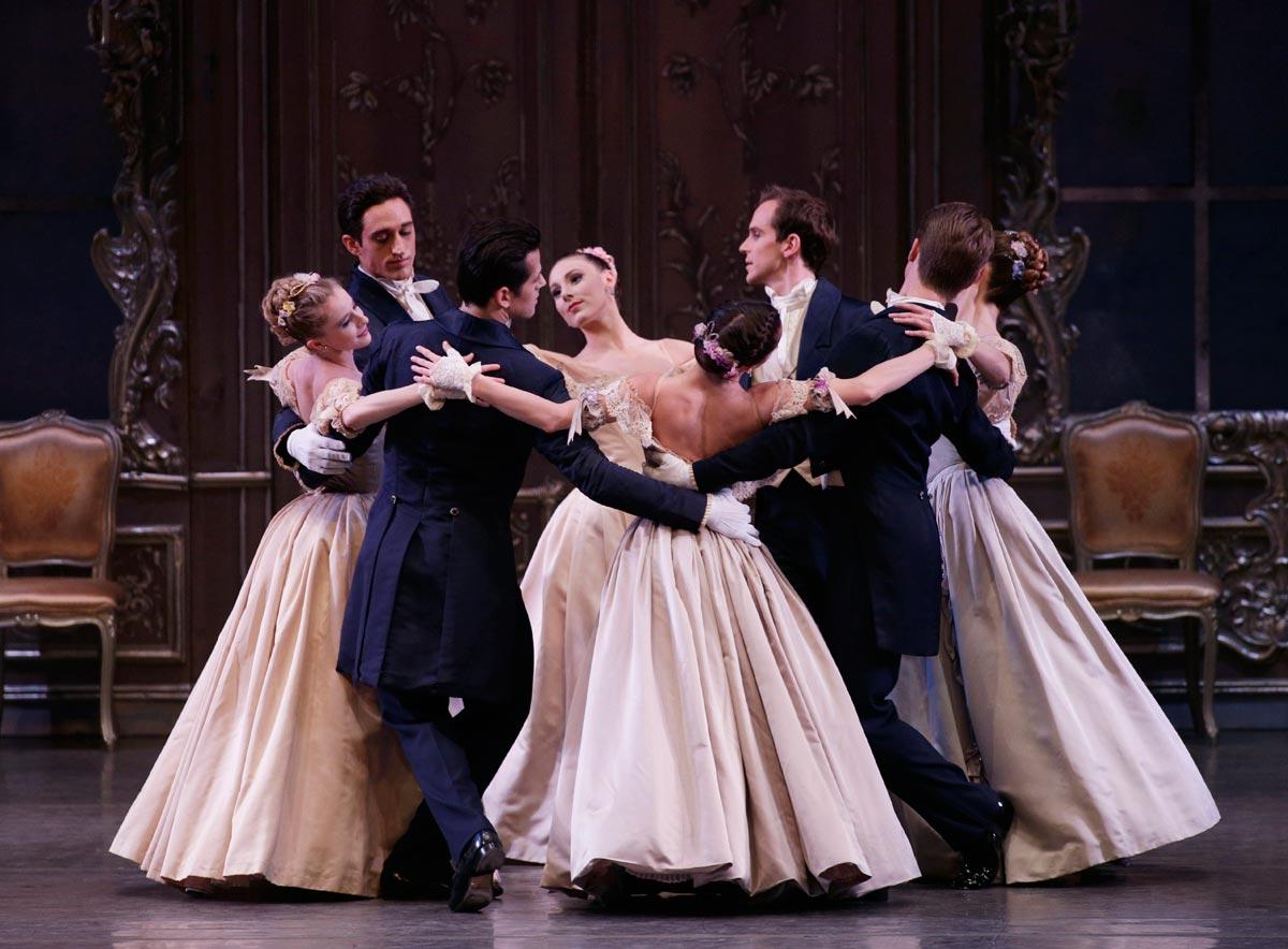 New York City Ballet in George Balanchine's <I>Liebeslieder Walzer</I>.<br />© Paul Kolnik. (Click image for larger version)