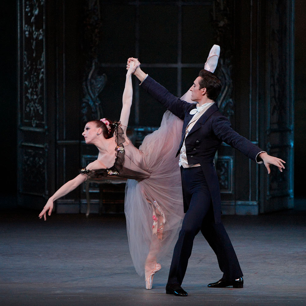 Jennie Somogyi and Justin Peck in George Balanchine's <I>Liebeslieder Walzer</I>.<br />© Paul Kolnik. (Click image for larger version)