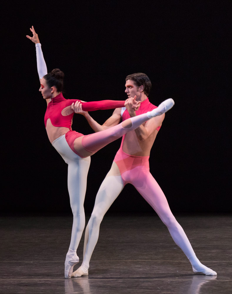 Brittany Pollack and Peter Walker in Justin Peck's New Blood, in costumes by Humberto Leon of Opening Ceremony and Kenzo.© Paul Kolnik. (Click image for larger version)