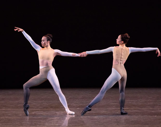 Georgina Pazcoguin and Meagan Mann in Justin Peck's <I>New Blood</I>, in costumes by Humberto Leon of Opening Ceremony and Kenzo.<br />© Paul Kolnik. (Click image for larger version)