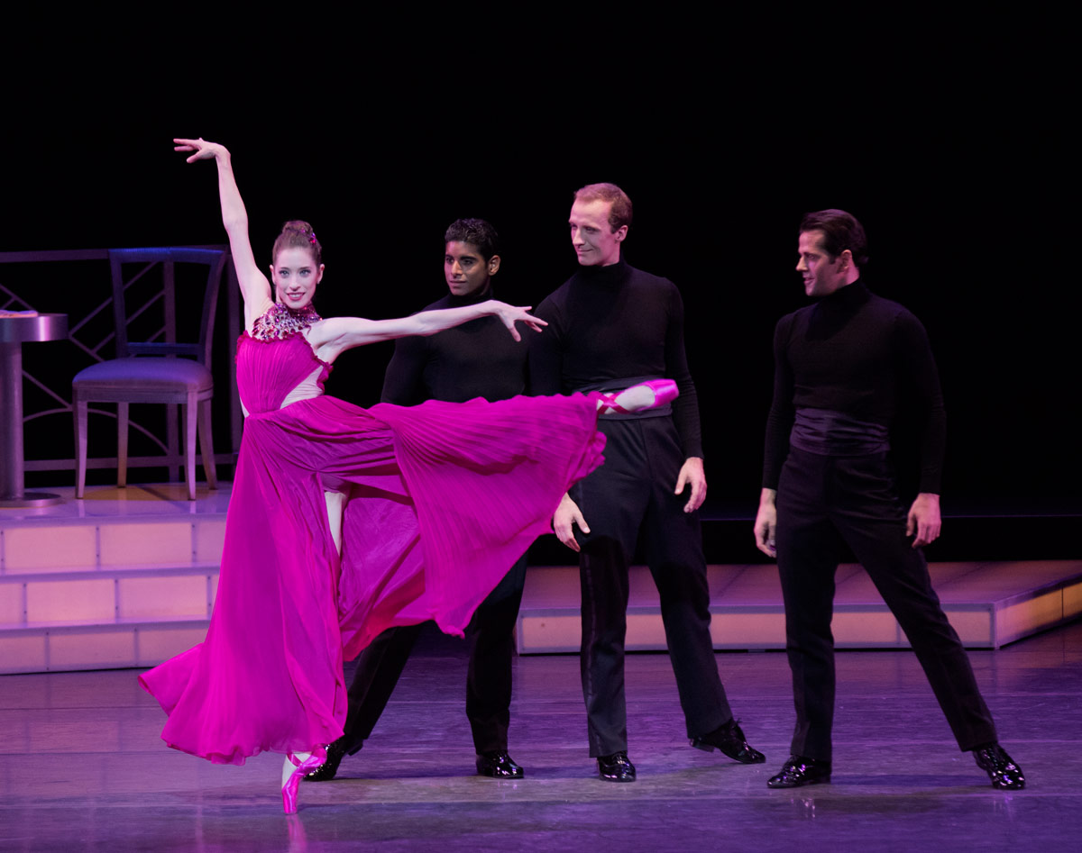 Rebecca Krohn, Amar Ramasar, Ask la Cour and Robert Fairchild in Peter Martins' Thou Swell, in costumes by Peter Copping of Oscar de la Renta.© Paul Kolnik. (Click image for larger version)