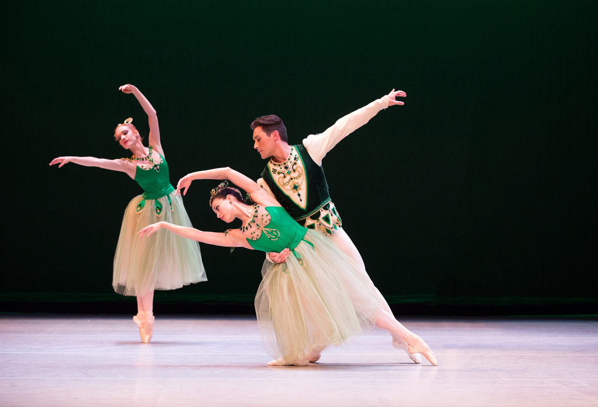 Natalia Magnicaballi and Michael Cook with Melanie Riffee in Balanchine's Emeralds.© Rosalie O'Connor. (Click image for larger version)