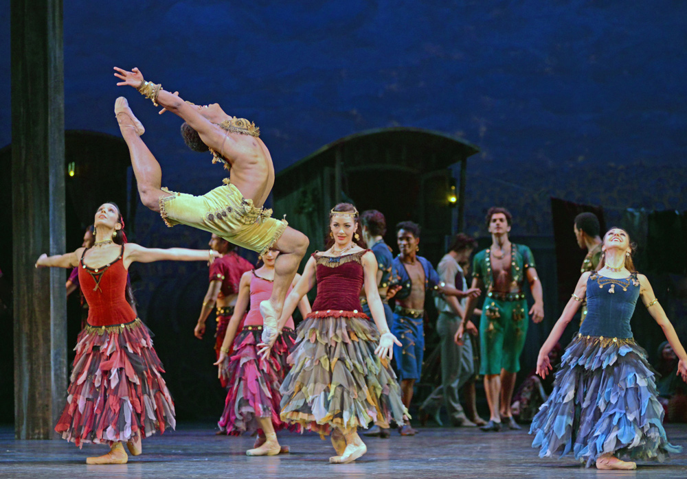 Marcelino Sambe (with Tara-Brigitte Bhavnani, Tierney Heap, Isabella Gasparini) in <I>The Two Pigeons</I>.<br />© Dave Morgan, courtesy the Royal Opera House. (Click image for larger version)