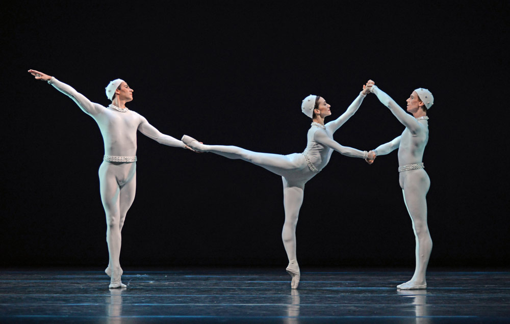 Valeri Hristov, Marianela Nunez and Edward Watson in Monotones II.© Dave Morgan, courtesy the Royal Opera House. (Click image for larger version)
